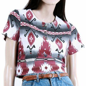 S Vintage 1990s Indian Blanket Crop Top Shirt